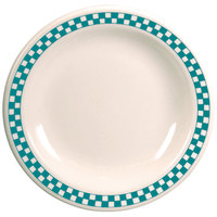 Homer Laughlin 2121789 Turquoise Checkers 6 1/2 inch Ivory (American White) Narrow Rim Plate - 36/Case
