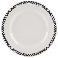 Homer Laughlin 4441636 Black Checkers 10 5/8 inch Ivory (American White) Rolled Edge Plate - 12/Case