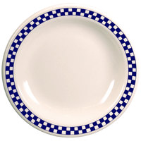 Homer Laughlin 2071790 Cobalt Checkers 10 5/8 inch Ivory (American White) Rolled Edge Plate - 12/Case