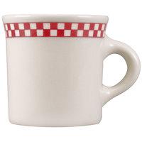 Homer Laughlin 3005413 Scarlet Checkers 8.75 oz. Ivory (American White) Mug - 36/Case