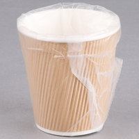 Lavex Lodging 10 oz. Kraft Ripple Individually Wrapped Paper Hot Cup   - 500/Case