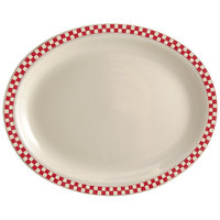 Homer Laughlin 1555413 Scarlet Checkers 11 3/4 inch x 8 inch Ivory (American White) Rolled Edge Oval Platter - 12/Case