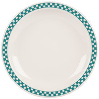 Homer Laughlin 2141789 Turquoise Checkers 8 1/4 inch Ivory (American White) Narrow Rim Plate - 36/Case