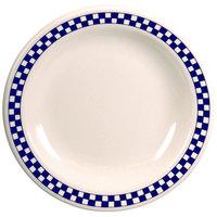 Homer Laughlin 2241790 Cobalt Checkers 9 inch Ivory (American White) Narrow Rim Plate - 24/Case