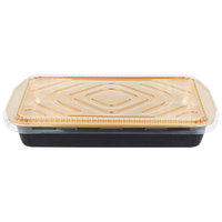 Durable Packaging 9664-PT-25 108 oz. Black Diamond and Gold Extra Large Foil Entree / Take Out Pan with Dome Lid - 5/Pack