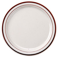 CAC AZ-22 8 3/8 inch Brown Speckle Narrow Rim China Plate - 36/Case