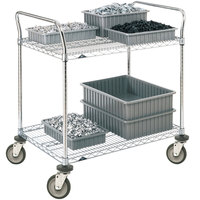 Metro 2SPN43PS Super Erecta Stainless Steel Two Shelf Heavy Duty Utility Cart with Polyurethane Casters - 21 inch x 36 inch x 39 inch