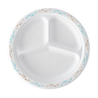 Huhtamaki Chinet 22524 10 1/4 inch 3-Compartment Molded Fiber Round Plate with Vines Design - 125 / Pack