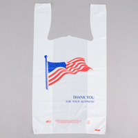 1/6 Size .71 Mil White American Flag Heavy-Duty Plastic T-Shirt Bag - 500/Case