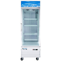 Avantco GDC12F-HC 27 1/8 inch White Swing Glass Door Merchandiser Freezer with LED Lighting - 13.1 Cu. Ft.