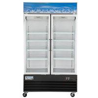 Avantco GDC40-HC 48 inch Black Swing Glass Door Merchandiser Refrigerator with LED Lighting - 28 Cu. Ft.