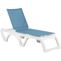 Grosfillex US476194 Calypso White / Sky Blue Stacking Adjustable Resin Sling Chaise