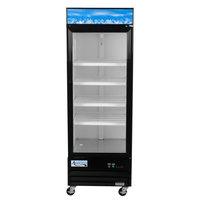 Avantco GDC-23-HC 28 3/8 inch Black Swing Glass Door Merchandiser Refrigerator with LED Lighting - 23 Cu. Ft.