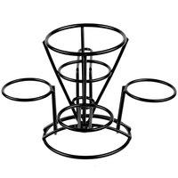 GET 4-362803 5 inch x 7 inch Black Wire Cone Basket with 3 Ramekin Holders