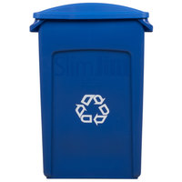 Rubbermaid Slim Jim 23 Gallon Blue Wall Hugger Recycling Container with Blue Slotted Lid