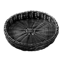 Tablecraft HM2469 Black Round Rattan Basket 12 inch x 2 inch