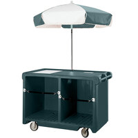 Cambro Camcruiser CVC55192 Granite Green Vending Cart with Umbrella, 1 Counter Well, and 2 Storage Compartments