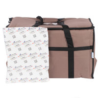 Choice 23 inch x 13 inch x 15 inch Brown Insulated Nylon Food Delivery Bag / Pan Carrier with Microcore Thermal Hot or Cold Pack Kit
