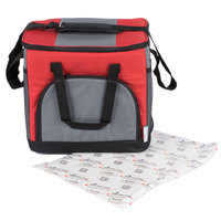 Choice Soft Sided 12 inch x 9 inch x 11 1/2 inch Red 24 Can Insulated Cooler with Microcore Thermal Hot or Cold Pack Kit