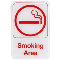 Smoking Area Sign - Red and White, 9 inch x 6 inch