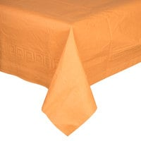 Creative Converting 323378 54 inch x 108 inch Pumpkin Spice Orange Tissue / Poly Table Cover