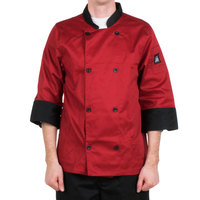 Chef Revival J134TM-XL Cool Crew Fresh Size 48 (XL) Tomato Red Customizable Chef Jacket with 3/4 Sleeves - Poly-Cotton