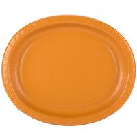 Creative Converting 323387 12 inch x 10 inch Pumpkin Spice Orange Oval Paper Platter - 8/Pack