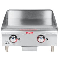 Star Max 624TCHSF-NAT 24 inch Countertop Gas Griddle with Chrome Plate and Thermostatic Controls - 56,600 BTU