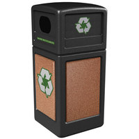 Commercial Zone 72231499 StoneTec 42 Gallon Black Recycling Container with Sedona Panels