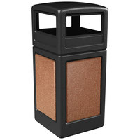 Commercial Zone 72041499 StoneTec 42 Gallon Black Trash Receptacle with Sedona Panels and Dome Lid