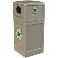 Commercial Zone 74610299 42 Gallon Beige Recycling Receptacle with Green Decals