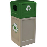 Commercial Zone 74613299 42 Gallon Beige Recycling Receptacle with Green Lid and Decals