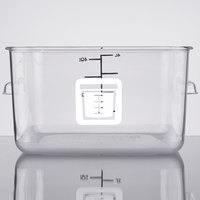 Rubbermaid 1980313 Color-Coded Clear 4 Qt. Square Food Storage Container with White Logo