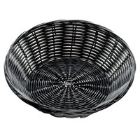 Tablecraft 2475 8 1/2 inch x 2 1/4 inch Black Round Rattan Basket - 12/Pack