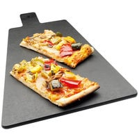 Cal-Mil 1535-16-13 Black Trapezoid Flat Bread Serving / Display Board with Handle - 16 inch x 8 inch x 1/4 inch