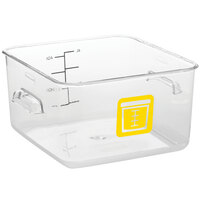 Rubbermaid 1980234 Color-Coded Clear 4 Qt. Square Food Storage Container with Yellow Logo