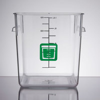 Rubbermaid 1980331 Color-Coded Clear 8 Qt. Square Food Storage Container with Green Logo