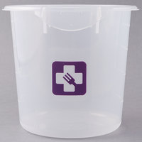 Rubbermaid 1980398 Color-Coded Semi Clear 4 Qt. Round Food Storage Container with Purple Logo
