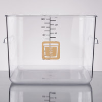 Rubbermaid 1981000 Color-Coded Clear 12 Qt. Square Food Storage Container with Brown Logo