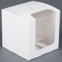 White 4 inch x 4 inch x 4 inch Candy Apple Box with Window - 250/Case