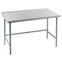 Advance Tabco TFMG-306 30 inch x 72 inch 16 Gauge Open Base Stainless Steel Commercial Work Table with 1 1/2 inch Backsplash