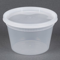 Newspring YSD2516 16 oz. Translucent Round Deli Container Combo Pack - 240/Case