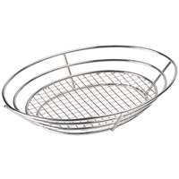 GET 4-84814 12 1/2 inch x 9 1/4 inch Stainless Steel Oval Basket with Raised Grid Base