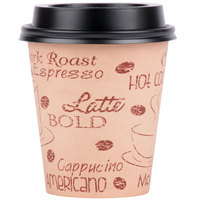 Choice 10 oz. Cafe Print Poly Paper Hot Cup and Lid - 100/Pack