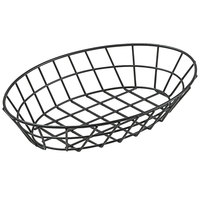 GET 4-30188 12 inch x 8 1/4 inch Black Iron Powder Coated Oval Grid Basket