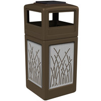Commercial Zone 733016299 Precision Series 42 Gallon Brown Trash Receptacle with Stainless Steel Reed Panels and Ashtray Lid