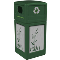Commercial Zone 746196099 Precision Series 42 Gallon Green Recycling Receptacle with Stainless Steel Cattail Panels