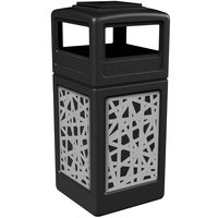 Commercial Zone 733026199 Precision Series 42 Gallon Black Trash Receptacle with Stainless Steel Intermingle Panels and Ashtray Lid