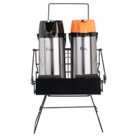 Choice 3-Piece Regular and Decaf 2.2 Liter Glass Lined Lever Airpots and Merchandising Wire Rack Set