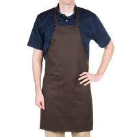 Choice Brown Full Length Bib Apron with Pockets - 34 inchL x 30 inchW